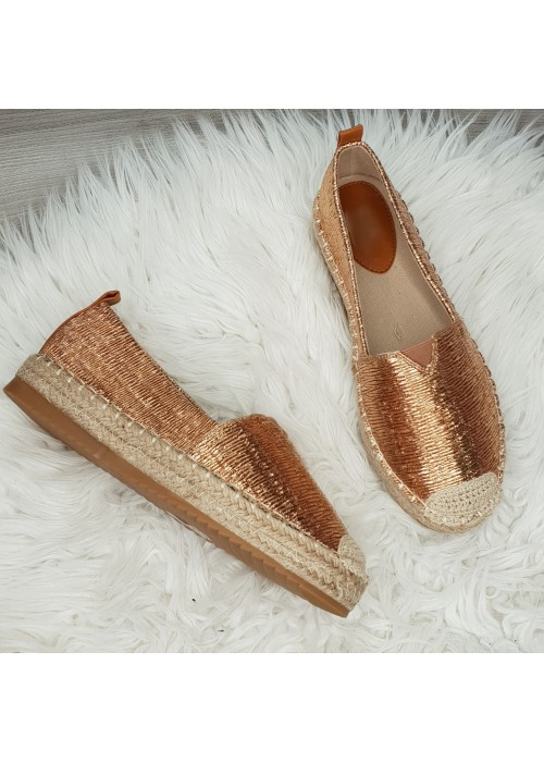 Metalické espadrilky Paolla rose gold