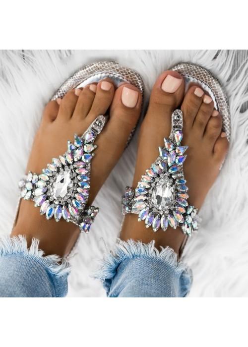 Strieborné sandále s kamienkami Leila