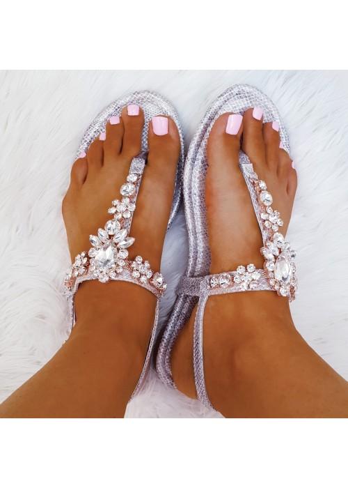 Strieborné sandále s kamienkani Alicia
