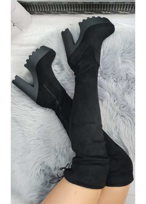 Čižmy nad koleno Brandy čierne