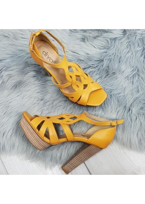 Kožené sandále Veronica žlté