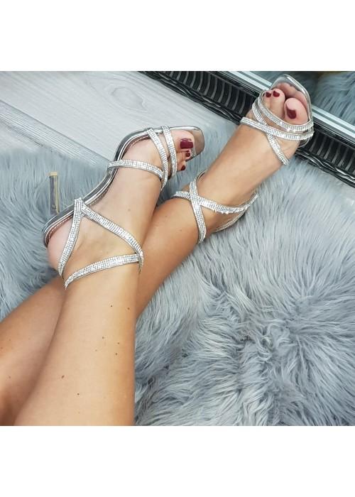 Strieborné sandále Celebrity
