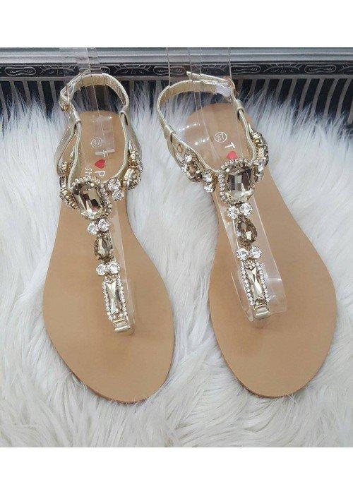 Sandálky s kamienkami Stone zlaté