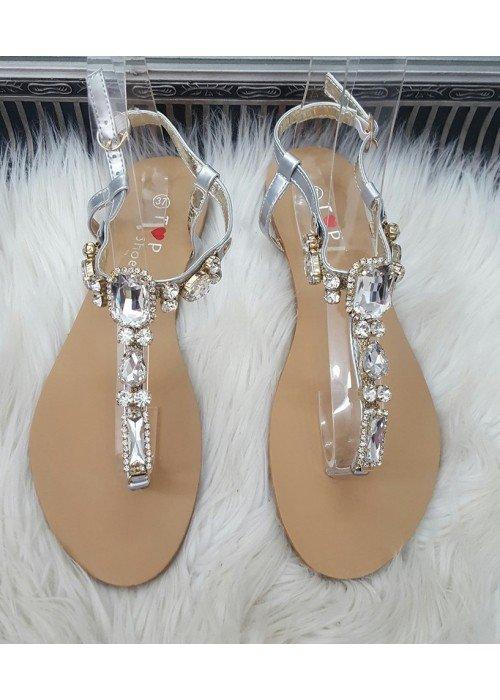 Sandálky s kamienkami Stone strieborné