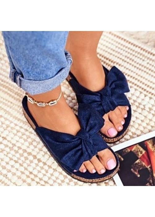 Modré šľapky s mašľou Meggie