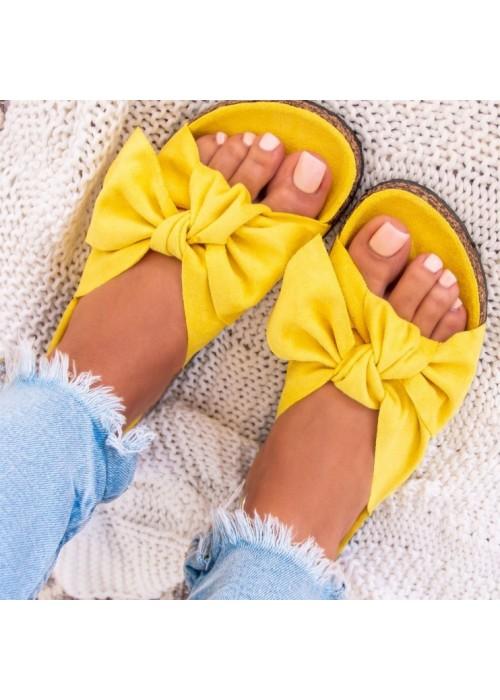 Žlté šľapky s mašľou Meggie