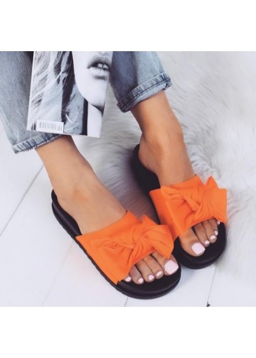 Neónovo oranžové šľapky s mašľou