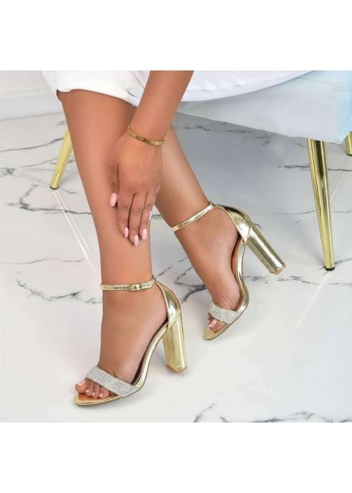 Zlaté sandále s kamienkami Ella