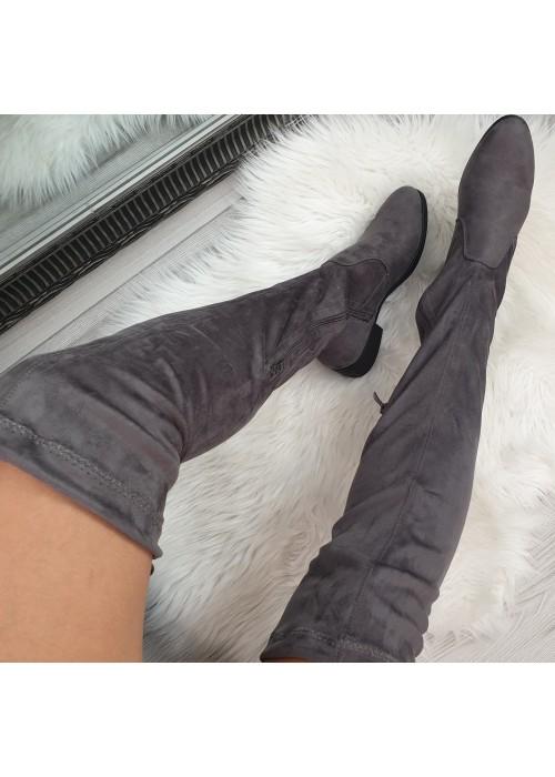 Sivé čižmy nad koleno Mirra