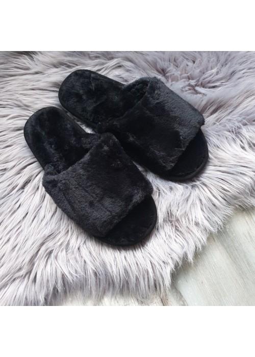 Chlpaté papučky Furry čierne