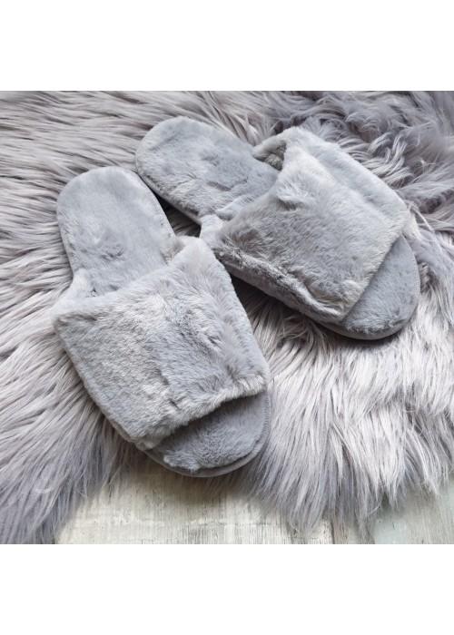 Chlpaté papučky Furry sivé