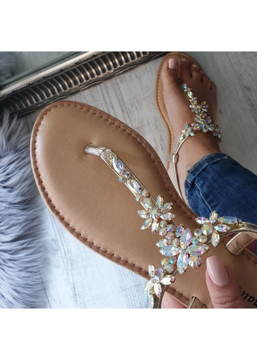 Zlaté sandále s kamienkami Sully