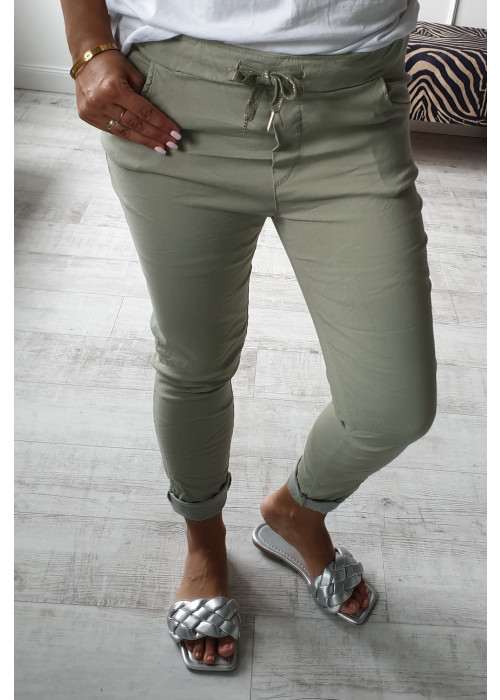 Letné nohavice Aurelia olivové