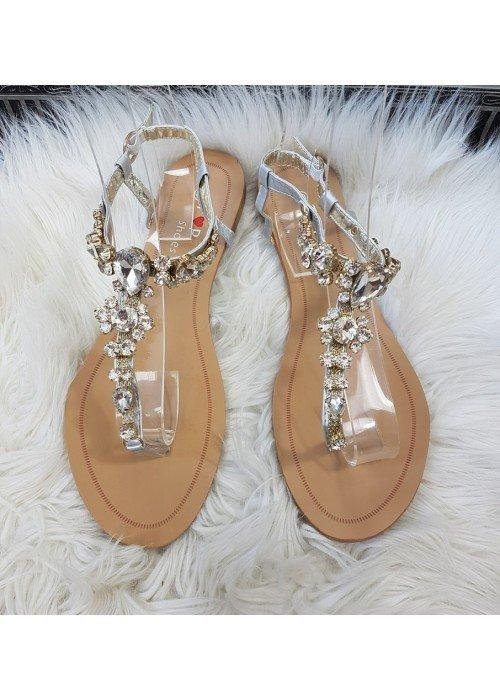 Sandalky s kamienkami Dory strieborné