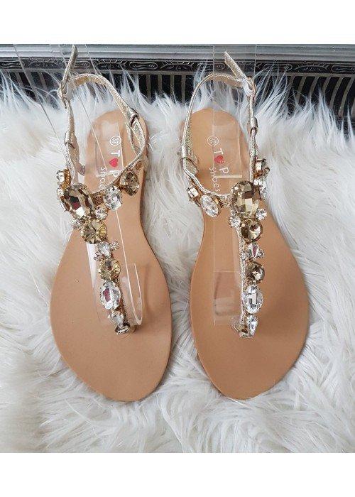 Sandalky s kamienkami Dina zlaté