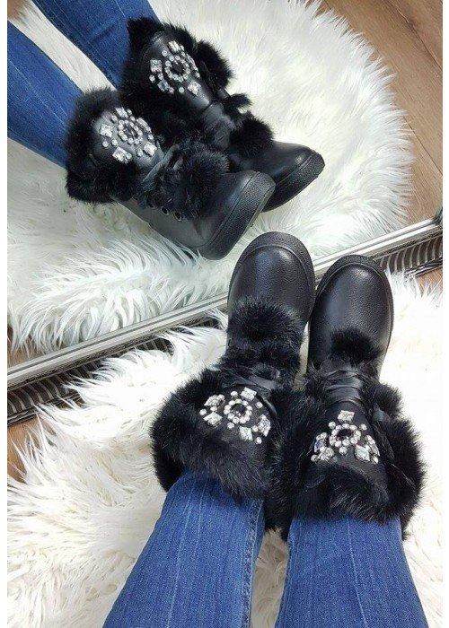 Zateplené topánočky Jewel čierne