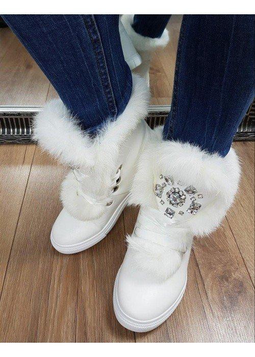 Zateplené topánočky Jewel biele