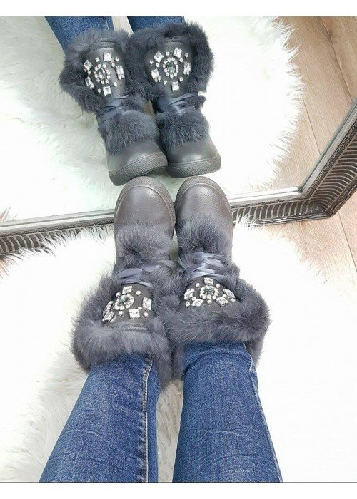 Zateplené topánočky Jewel šedé