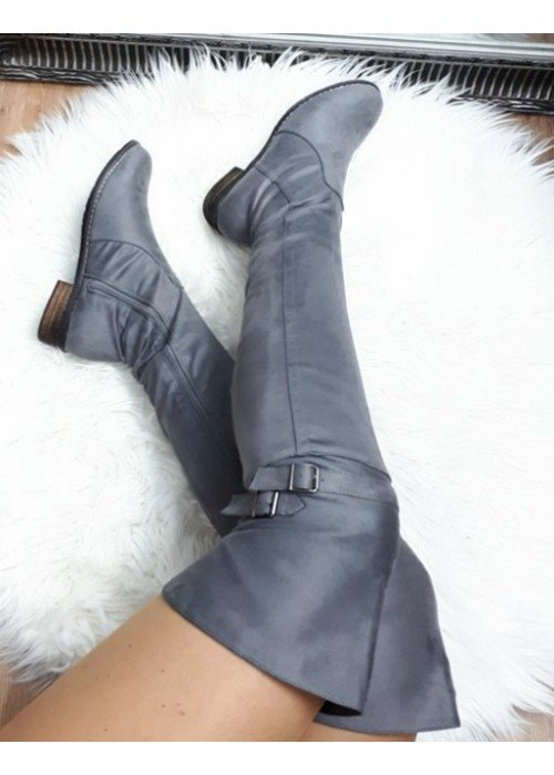 Semišové čižmy nad koleno Sandra sivé