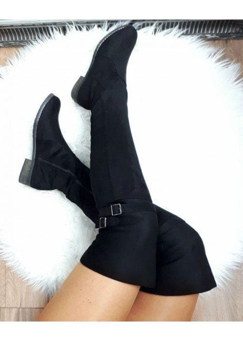Semišové čižmy nad koleno Sandra čierne