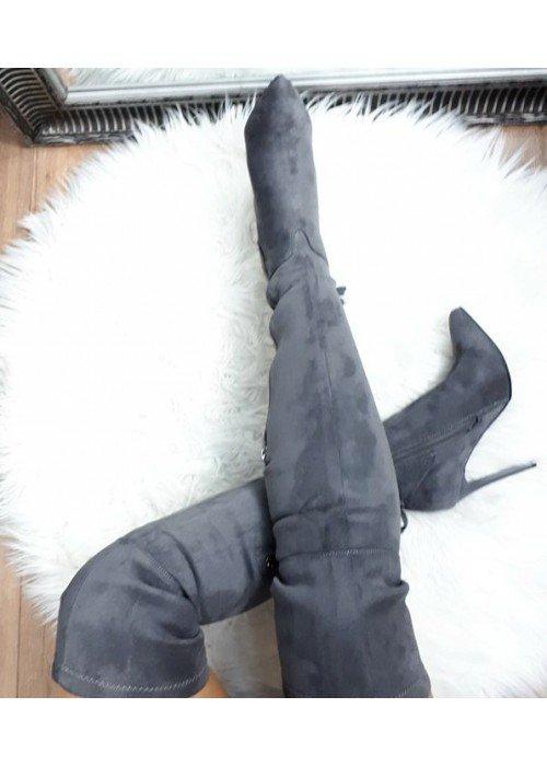 Sivé semišové čižmy nad koleno Kim