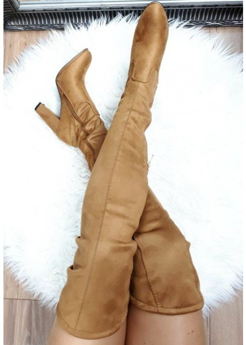 Karamelové čižmy nad koleno Ariana