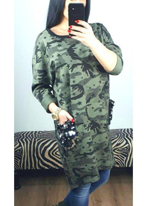 fe69e4d1d69c Army tunika šaty s vreckami - Divalli.sk