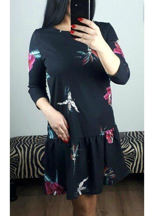 Šaty s kvetmi s dlhým rukávom
