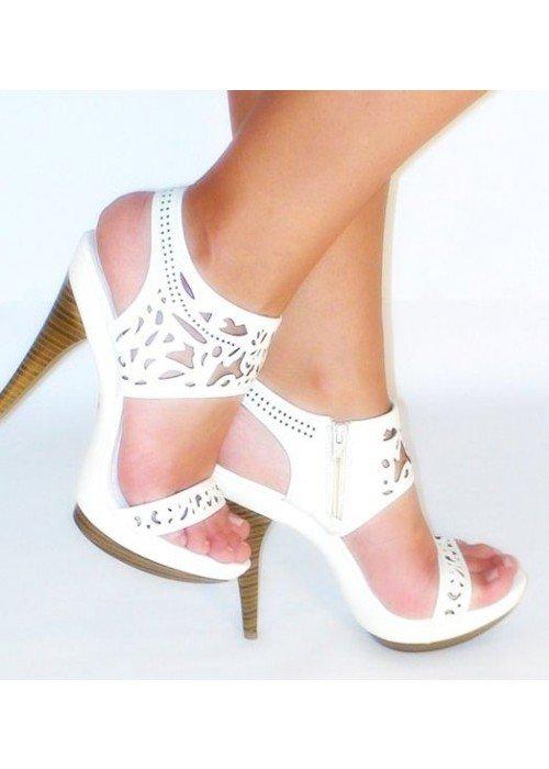 Vyrezávané sandále Alberta biele