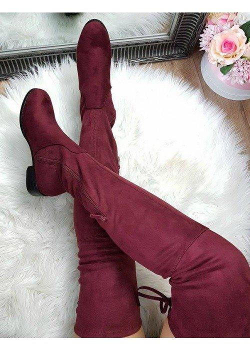 Bordové čižmy nad koleno Freya