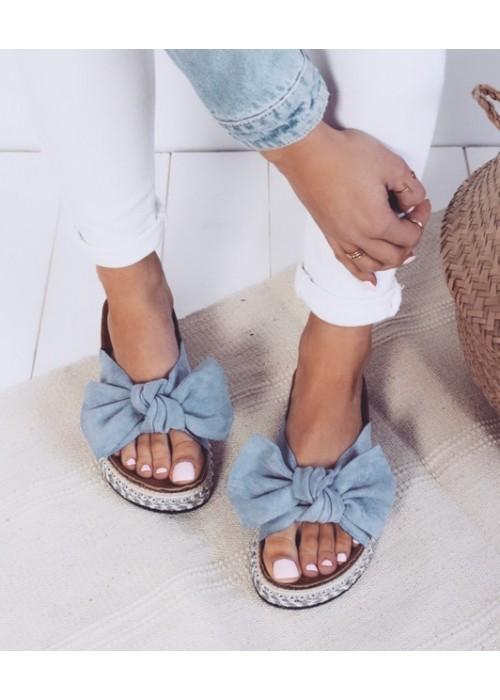 Platformové šľapky Lina modré