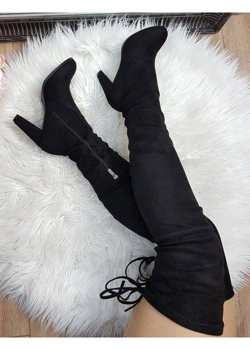 Čierne čižmy nad koleno Liana