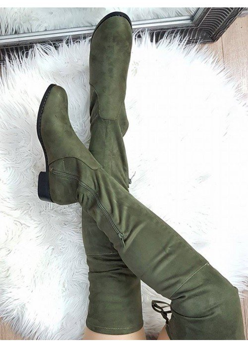 Olivovo zelené čižmy nad koleno Freya