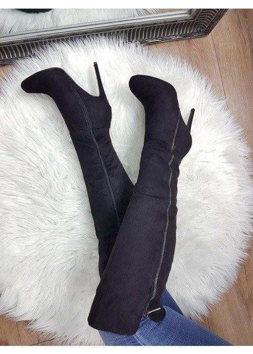 Semišové čižmy po koleno Salma čierne