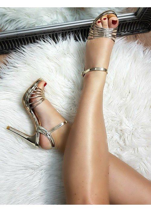 Zlaté zrkadlové sandále Tessa