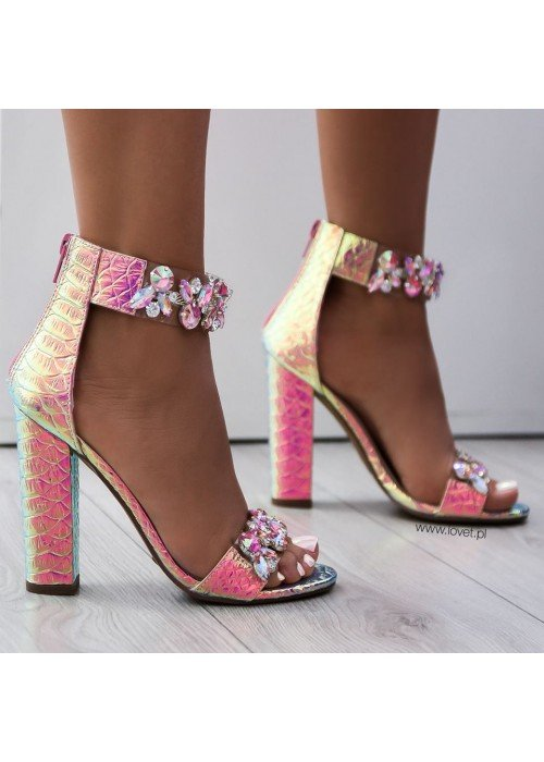 Luxusné sandálky s kryštálikmi Sally ružové