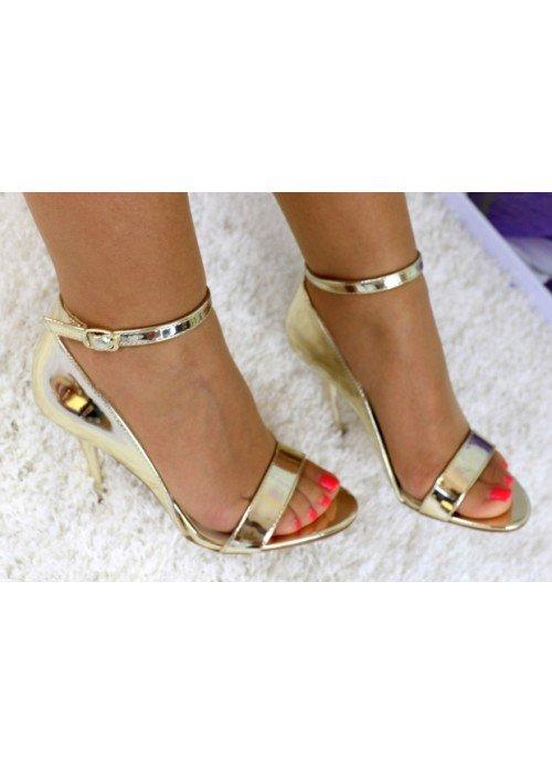 Zlaté zrkadlové sandále Diva