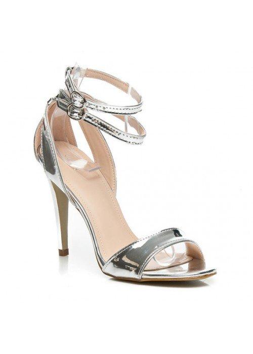 Strieborné zrkadlové sandále Chloe