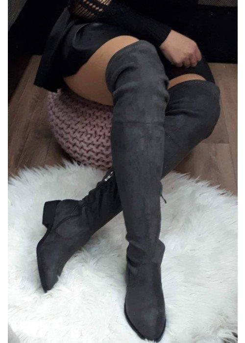 Sivé čižmy nad koleno Marion