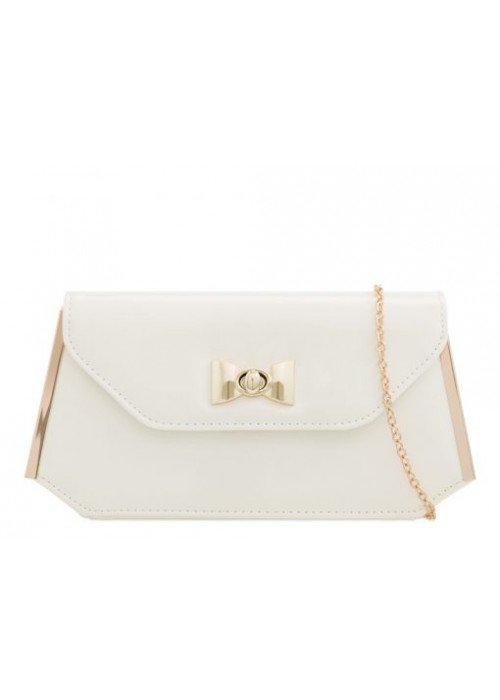 Biela listová kabelka Carli