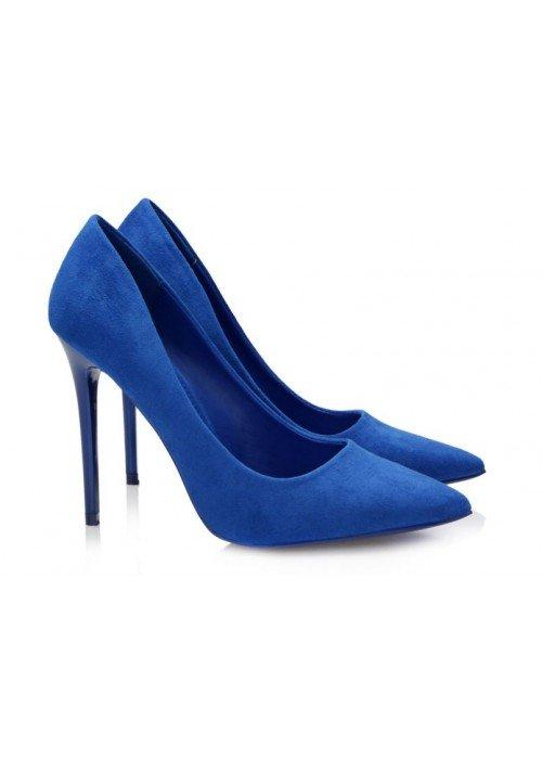 Kráľovské modré semišové lodičky Bea