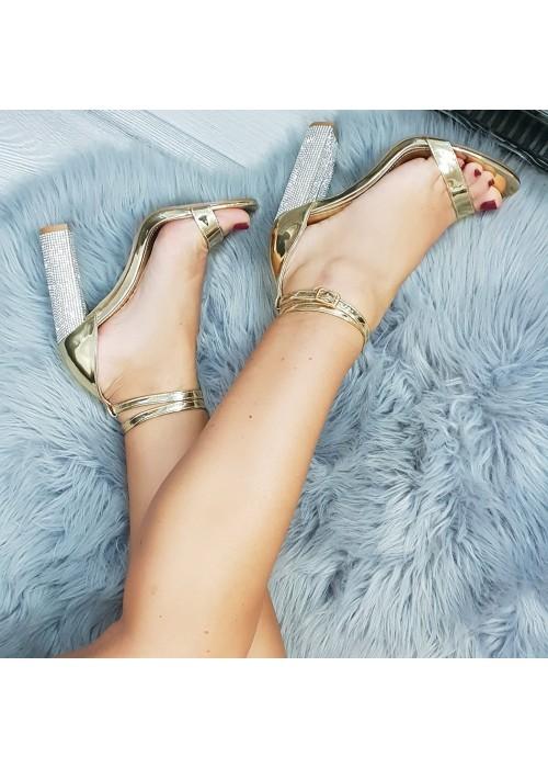Zlaté sandále s kamienkami Alla