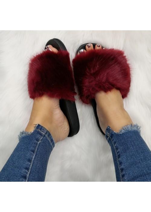 Bordové chlpaté papuče Furra