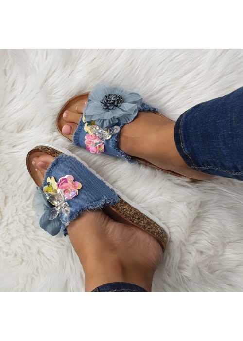 Rifľové šľapky s kvetmi