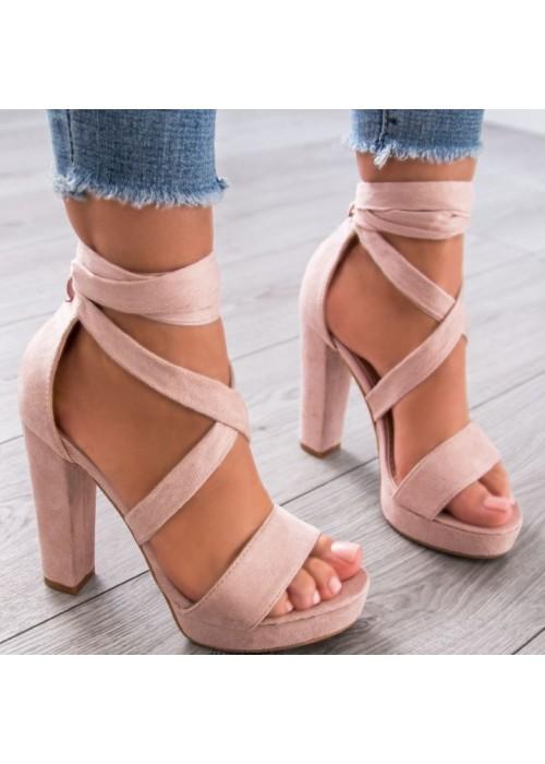 Béžové sandále na viazanie