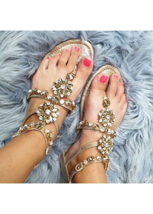 Sandálky s kamienkami Ellie zlaté