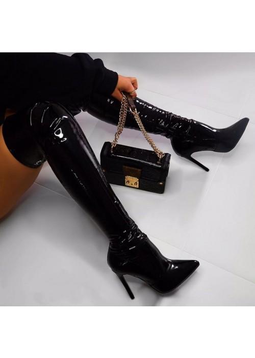 Lakové čižmy nad koleno Gemma