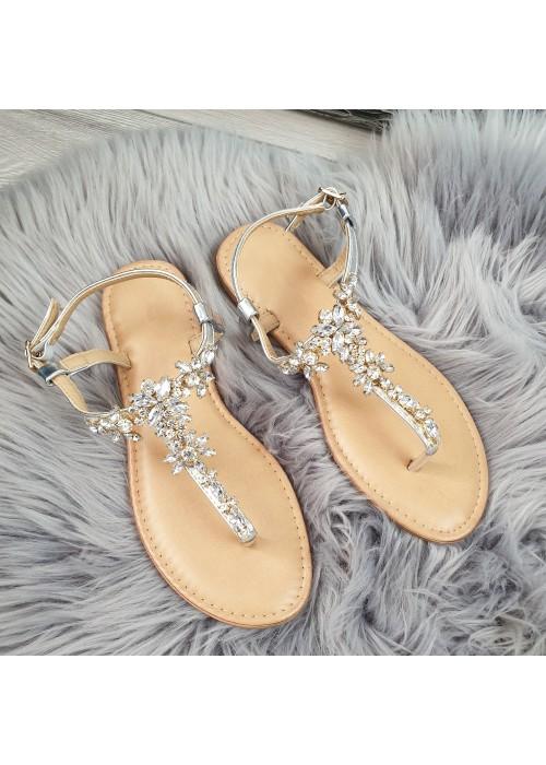 Strieborné sandále s kamienkami Sully