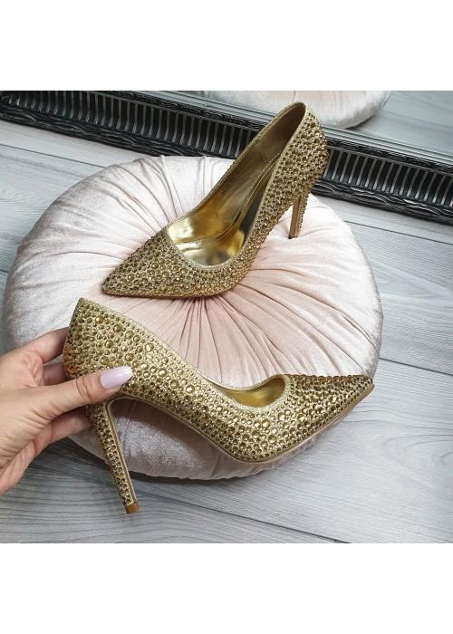 Lodičky s kryštálikmi Cinderella zlaté