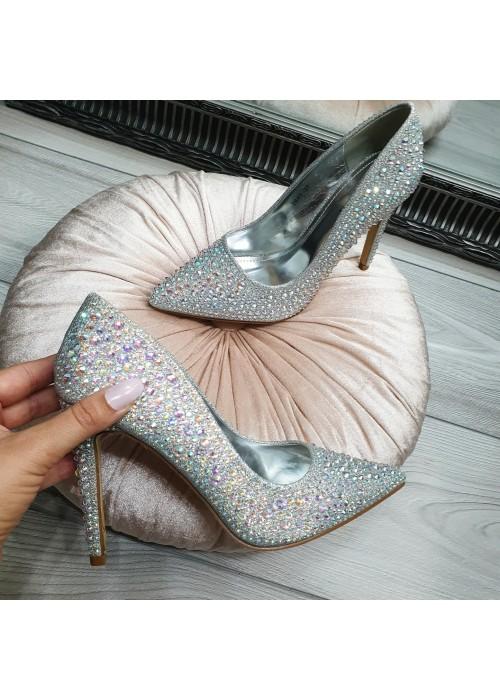 Lodičky s kryštálikmi Cinderella strieborné
